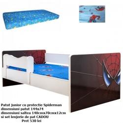 Pat Spiderman cu saltea si lenjerie cadou