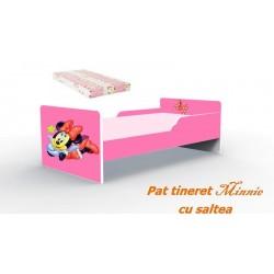 Pat tineret Minnie roz cu saltea