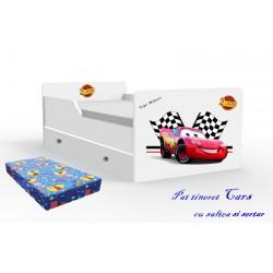 Pat tineret Cars cu saltea si sertar