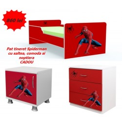 Pat tineret Spiderman , saltea, comoda si noptiera Cadou
