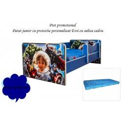 Promo Pat junior personalizat Eroi cu saltea cadou