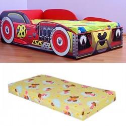 Pat masina Mickey cu saltea inclusa