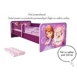 Promotie Pat junior personalizat Sofia cu saltea cadou