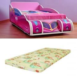 Pat masina Minnie Mouse Pink cu saltea