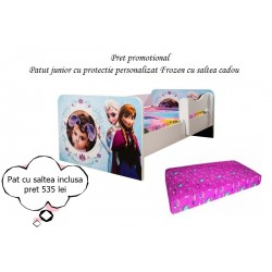 Promotie Pat junior personalizat Frozen cu saltea cadou