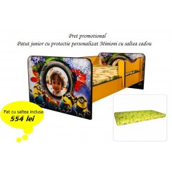 Promo Pat junior personalizat Minioni cu saltea cadou