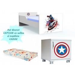 Pat tineret Captain America cu saltea si noptiera CADOU