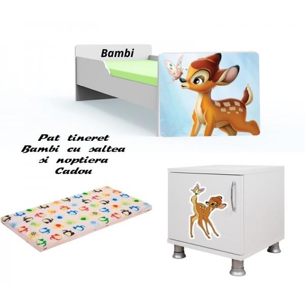 Pat tineret Bambi cu saltea si noptiera Cadou