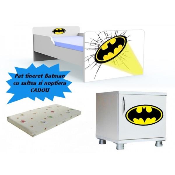 Pat tineret Batman cu saltea si noptiera CADOU