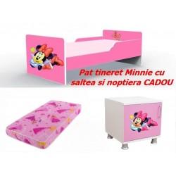 Pat tineret Minnie roz cu saltea si noptiera CADOU