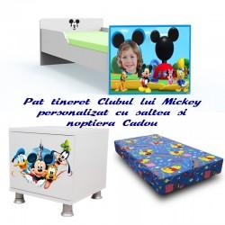 Pat tineret Clubul lui Mickey cu saltea si noptiera Cadou