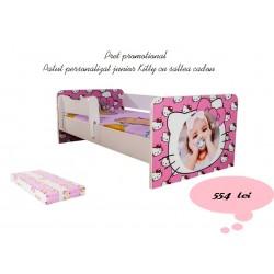 Promotie Pat junior personalizat Kitty cu saltea cadou