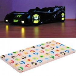 Pat masina Batman lumini cu saltea inclusa