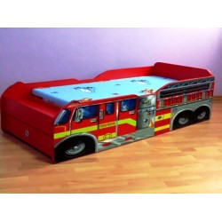 Pat copii masina extensibil  cu sertar  '' Pompieri''
